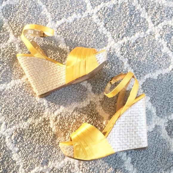 Ana Yellow Platform Wedge Sandals